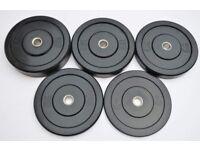 150KG Full Black Rubber Bumper Plates Set - Premium Slimline - Weightlifting Crossfit Olympic Gym
