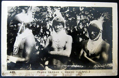 Argentina~1930s TIPOS INDIOS ~ CHACO ~ Indians~ RPPC  Real Photo Postcard