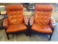 Pair Of 1970's Reclining Leather Chairs