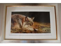 """""""BEST FRIENDS"""" ANDREW HUTCHINSON GOLD SILVER FRAMED WOLF SNAIL LIMITED SIGNED ART PRINT 229/490"""