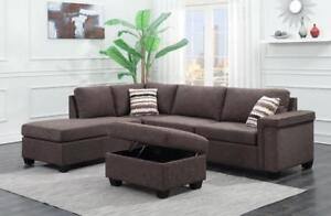 LORD SELKIRK FURNITURE - BRAND NEW THORNHILL SOFA SECTIONAL WITH STORAGE OTTOMAN IN CHARCOAL - $1098.00