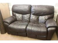 Double recliner sofa & 2 seater sofa suite. Delivery available