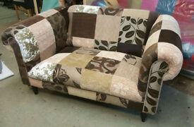 A Charming 2 Seat Tan Brown Cream Hand Made Chesterfield Patchwork Sofa