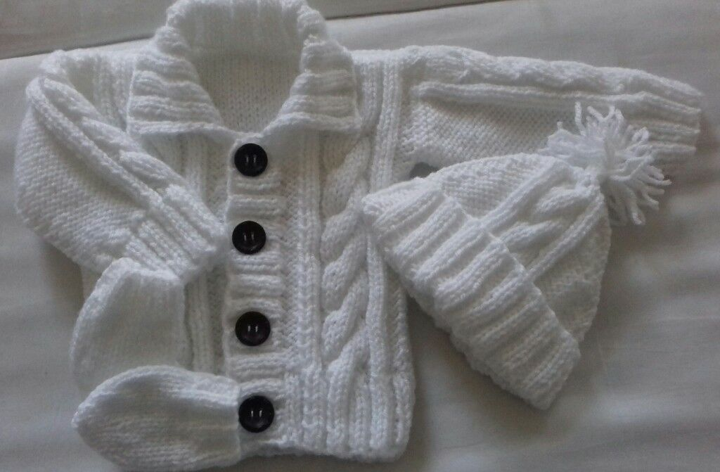 4333b7758 Brand new hand knitted Aran baby cardigan hat and mittens set