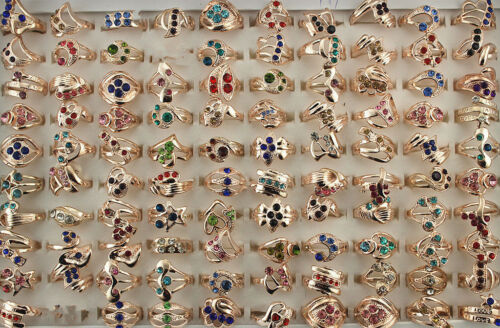 Mixed Lots 45pcs Multicolor rhinestone Rose Gold P Fashion Women