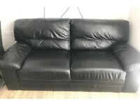 Black leather sofa dfs furniture village ..