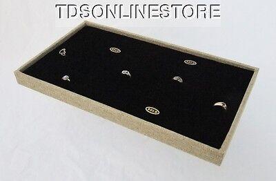 72 Ring Burlap Covered Tray With Black Velvet Foam Insert