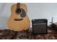 Encore EA255 Electro Acoustic Guitar w/ Stagg Case, Stand & Practise Amp