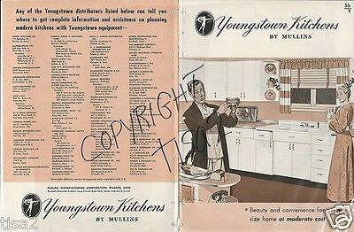 1946 YOUNGSTOWN KITCHENS Steel Metal Cabinets Units Sink Wall WWII era Catalog