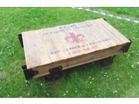 (#514) unusual rail cart design coffee table furniture (Pick up only, Dy4 area)
