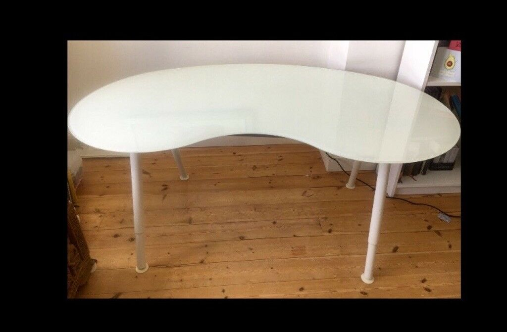 Elegant Curved Glass Top Desk Ikea Galant