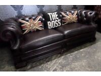 Stunning Dellbrook Chesterfield Oxblood 3 Seater Sofa Couch Leather Low Back - UK Delivery