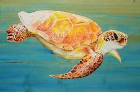 "Original ""Green Turtle "" hand-painted large wall plaque"