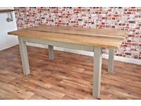 chunky hardwood rustic dining table sixseater oak farmhouse table