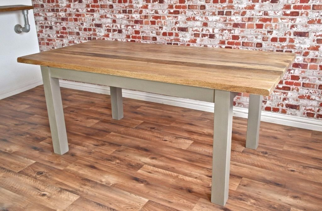 Chunky Hardwood Rustic Dining Table Six Seater Oak Farmhouse Table