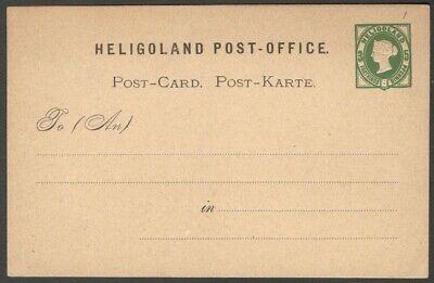 Heligoland 1873 QV Queen Victoria 3f/5pf green postal card unused HG #3