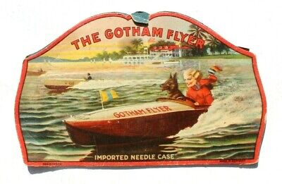 Antique Vtg Needle Book Sample Case Advertising Of The Gotham Flyer