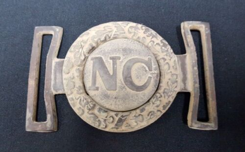 Civil War Reproduction Brass 2 Piece Confederate North Carolina Belt Buckle