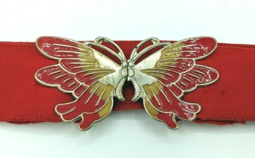 Vintage Enamel Gold Metal Butterfly Clasp Elastic Stretch Belt Red- Retro