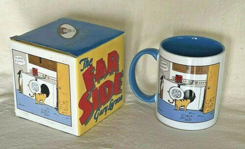 Vintage 1998 THE FAR SIDE Coffee Mug Blue Inside - Cat Fud - NIB Gary Larson
