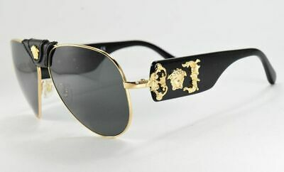 Versace Medusa 2150Q 1002/87 Black & Gold / Gray Lenses Aviator Sunglasses