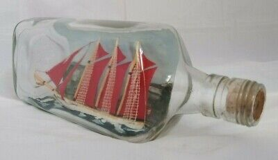Vintage SHIP IN BOTTLE Three-Masted Schooner HAND-CRAFTED RARE COLLECTOR'S ITEM