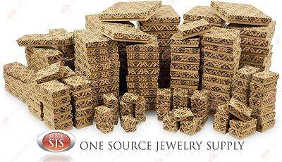 Kraft Damask Cotton Filled Gift Boxes Jewelry Cardboard Box Lots of 12~25~50~100