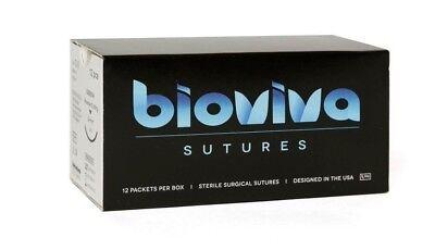 Bioviva Silk Braided Nonabsorbable Surgical Suture Wneedle 24mm 3-0 Sbb684 12pc