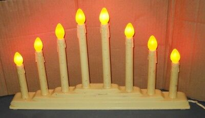 CHRISTMAS HOLIDAY WINDOW 8 CANDLE LIGHTS CANDELABRA ELECTRIC ORANGE BULBS