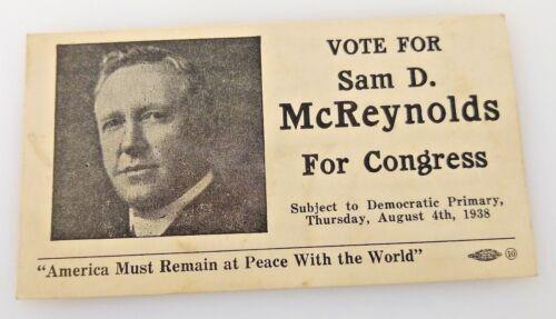1938 Sam McReynolds Congress Political Advertising Card, TN Democratic Party A4