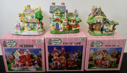 (3) Cottontale Cottages School, Egg Vendor, Bunny School Porcelain Easter Decor