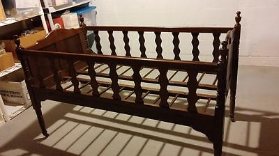 Wood Folding Crib - Antique pre-Civil War Wood Folding Baby Bed Crib Approx C1855 Casters