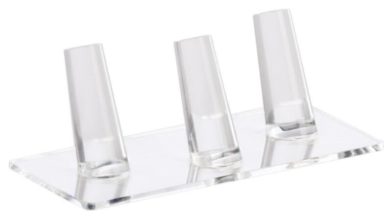 "5.3"" x 1.8"" x 2.3"" Ring Finger Jewelry Display Acyrlic Holds 3 Band Jewelry Rack"