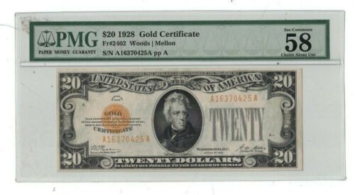 U.S. $20 1928 GOLD CERTIFICATE NOTE PMG 58 CHOICE ABOUT UNC EPQ FR#2402 (68)