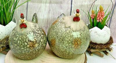 Deko Hahn + Huhn dick 2er Set Keramik - Hof Dekoration