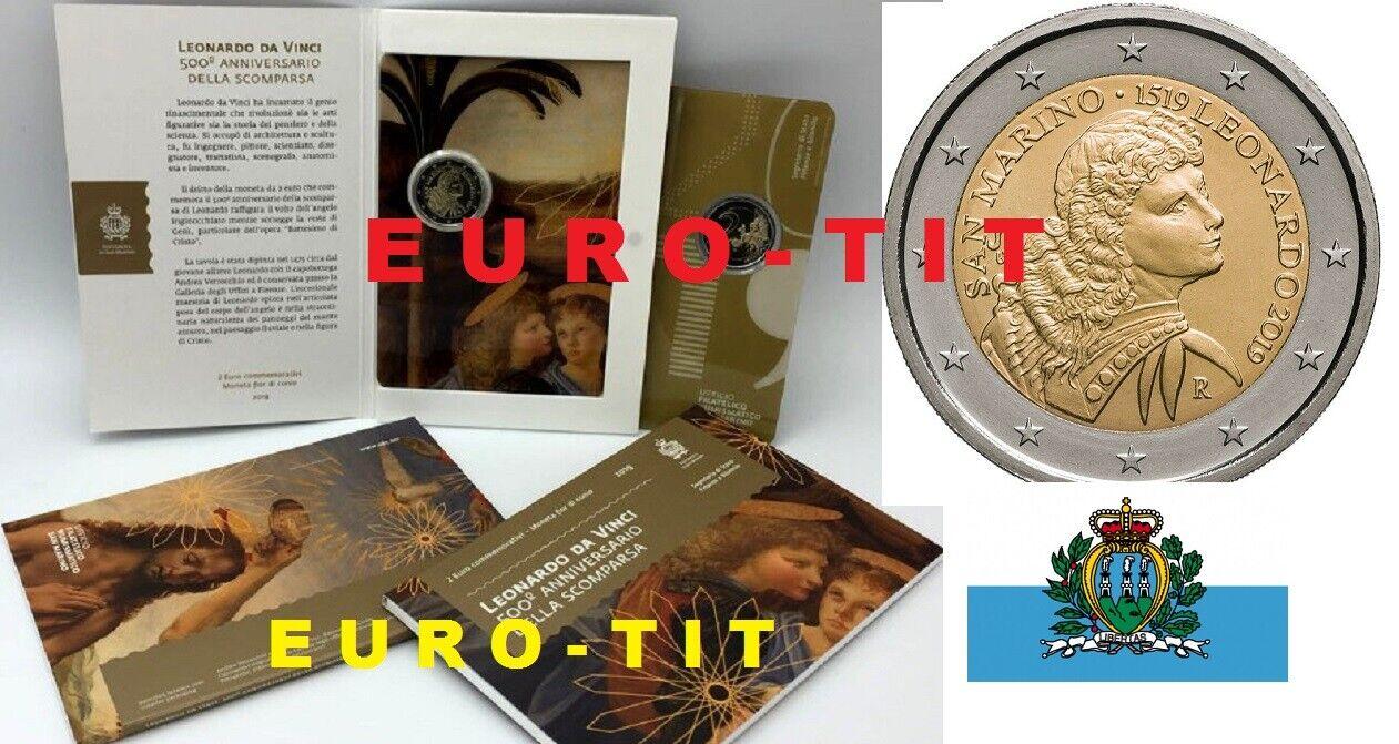 2 € saint marin   commemorative   2019  leonard de vinci  rare  2019  disponible