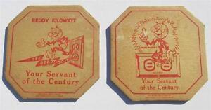 2 Different Vintage Old Antique REDDY KILOWATT Hot Pad Holder Board Mats