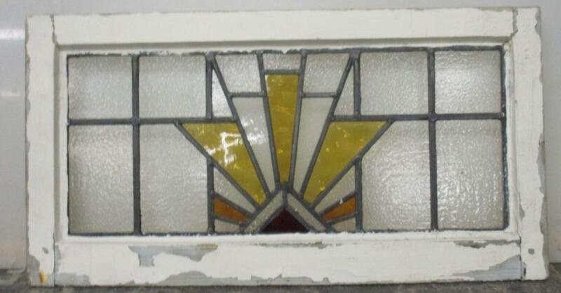 "OLD ENGLISH LEADED STAINED GLASS WINDOW TRANSOM Geometric Sun Burst 26.25"" x 14"""