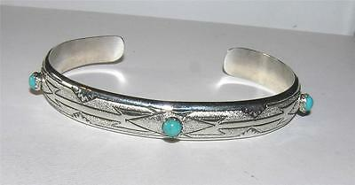 Native American Turquoise Etched Tribal Sterling Silver Cuff Bracelet Signed T