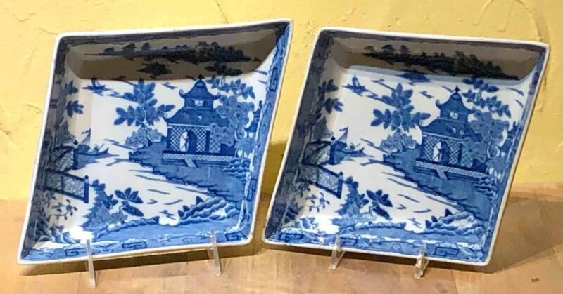"Pair Staffordshire Blue ""Chinoiserie"" Transfer Serving Dish, Davenport, c.1810"