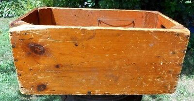 Vintage Hand Crafted Wooden Box Primitive Crate Box Slotted Handles Vermont Barn