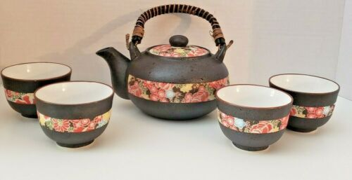 Japanese Tea / Sake Set Kettle And Four Cups Floral Art  Hand Made Bamboo Handle