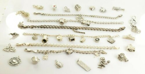 Jewelry Lot Sterling Silver All Marked 131.2 g - Charms and Charm Bracelets