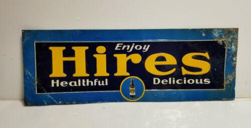 Vintage Hires Sign Tin Tacker Embossed