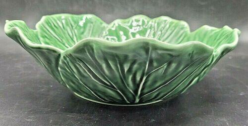 "Bordallo Pinheiro 9"" Vegetable Serving Bowl Cabbage Green Leaf Portugal Majolica"