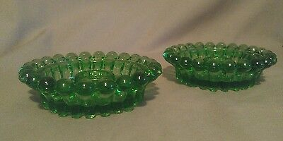 Pair Vintage Green Depression Glass Candlestick Holders