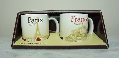 Starbucks Paris and France Demi Espresso Cups Set Of Two Demitasse 3 oz NEW!