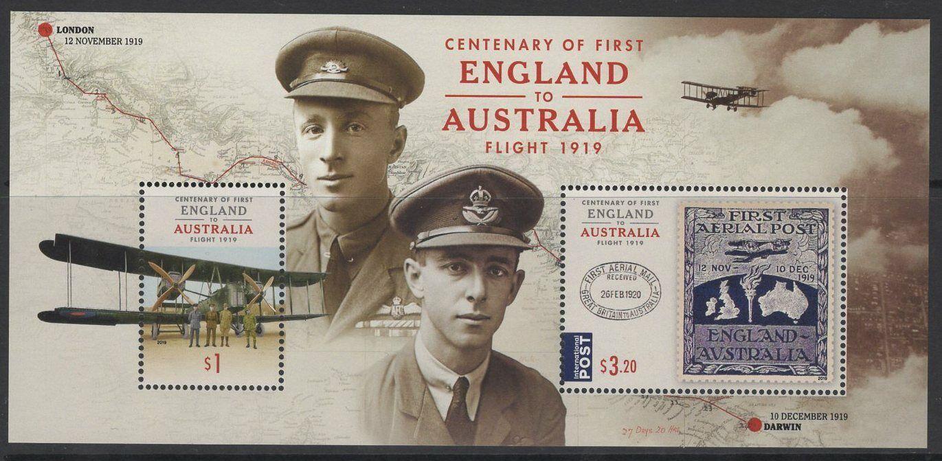AUSTRALIA 2019 FIRST FLIGHT ENG TO AUS SHEET MNH