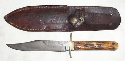 Antique Manhattan Cutlery Co Hunting Knife & Sheath Sheffield, Eng, late 1800s