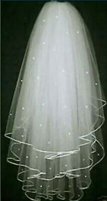 Ivory Bridal Wedding Veil 3 Tier with Comb Handmade Elbow Length Pearl